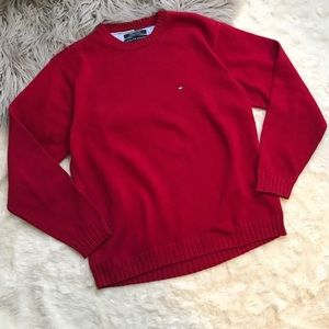Tommy Hilfiger Men's Sweater  Red Knit Crew Neck